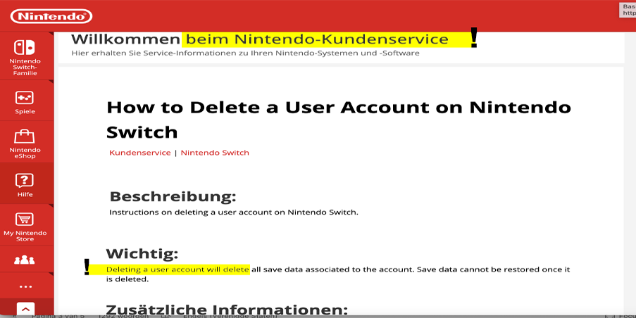 Nintendo mixed language error